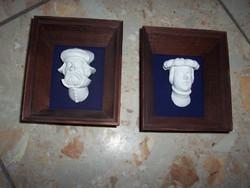 2 db kis lengyel falidísz kép -fejforma fa keretben