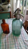 Halványzöld feliratos szódás üveg eladó
