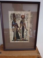 Papirusz kép, Beüvegezett, bekeretezett Egyiptomi papirusz  tekercs kép ,