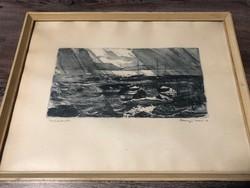 Csurgói Máté Lajos - Csónakok (rézkarc)
