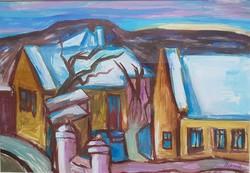 Mersits Piroska - Fehér háztetők 28 x 40 cm tempera, papír