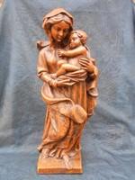 Hatalmas, mesterien megmunkált, antik viasz szobor, Mária kis Jézussal Hibátlan, gyűjtői darab.