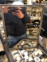 Ezüst keretű, dianás, metszett tükör, múlt század végéről.