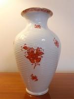 Régi Herendi porcelán váza Apponyi Orange Chinese Bouquet Rust kosármintás