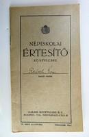 Népiskolai értesítő könyvecske 1939