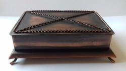 Réz fedeles iparművész ékszertartó doboz