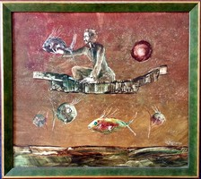 Győrfi András - Halász 45 x 52 cm olaj, farost 1993-as