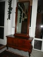 Antik, billenthető, csiszolt állótükrös bécsi barokk kis előszoba komód nagyon szép állapotban