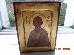 Kézzel festett,gazdagon aranyozott egyedi Szent Szpiridon Korfu,bizánci görög ikon,múzeumi másolat