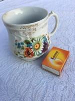 Antik virágos hasas bögre teás