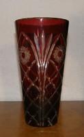 Bordó csiszolt ólomkristály váza