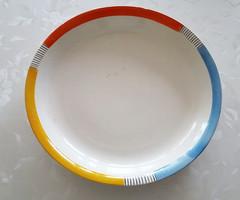 Régi Gránit színes csíkos tál kínáló nagy tányér 30,5 cm