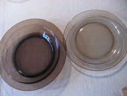 Arcoroc FRANCE füstös barna lapos tányér