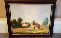 Figyelő ló. Festmény.