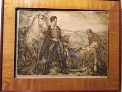 Révész Imre (1859 - 1945 ) alkotása: Bem József megtalálása színezett rézkarc  kerettel