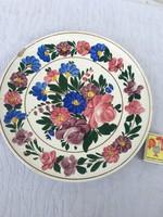 Antik kispesti Gránit nagy tányér - falitányér - virágos