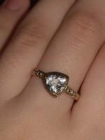 10k tömör arany gyűrű gyémánttal és akvamarinnal