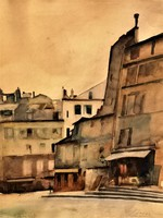 Beron Gyula (1885 - 1971) Párizsi utcarészlet 1928 Nemzeti Szalonban kiállítva EREDETI GARANCIÁVAL