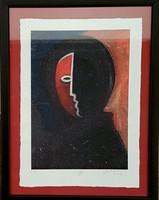 Aknay János - Festőangyal 23 x 16 cm computer print 2009-ből,  keretezve