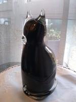 Leonardo fekete üveg kristály cica