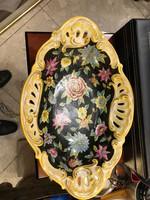Régi porcelán tál, 22 cm-es, gyönyörű kézi festésű, érdekes darab.