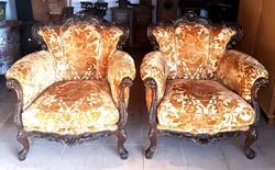 Faragott kényelmes barokk fotel párban
