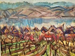 Uhrig Zsigmond (1919 - 1993) Dunai táj c. Képcsarnokos festménye 86x66cm EREDETI GARANCIÁVAL !!!