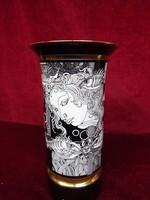Hollóházi porcelán váza, Szász Endre rajzaival, 26 cm magas.