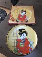Japán porcelán dísztányér dobozában