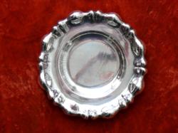 Ezüst tál, hólyagmintás szélű, 1930-as évek vége, dianás magyar fémjel, átm. 19,5 cm, 150 g