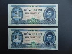 2 darab 20 forint 1949 Rákosi címer sorszámkövető UNC hibátlan bankjegyek !