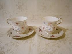 E_024 2 db nagyon szép Paragon angol porcelán teás csésze tányérral (Bavaria) virág mintával