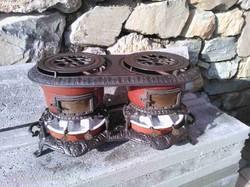 Ritka Szecessziós Vintage ptróleum olaj kályha ritkaság öntöttvas 1850 ből étel melegítő tűzhely
