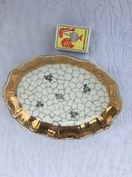 Gyönyörű Porcelán Jelzett kínáló tálca - Orbán Gizi ( Zsolnay ) virágos aranyozott szélű tányér tál