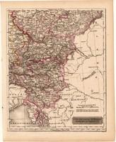 Délkeleti Német nemzetállamok térkép 1840 (2), német ny., atlasz, eredeti, Pesth, 23x29 cm, Ausztria