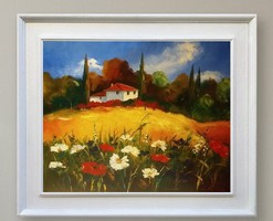 Toscana virágai c. eladó olajfestmény 50x40cm