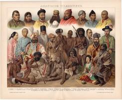 Ázsiai népfajok, litográfia 1892, német nyelvű, színes nyomat, Ázsia, ember, típusok, etnográfia