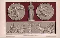 Thorvaldsen, litográfia 1894, színes nyomat, német nyelvű, Brockhaus, szobrász, szobor, Nagy Sándor