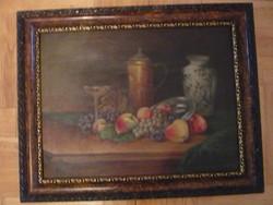 Rózsafa keretes CSENDÉLET régi olaj festmény 69x 55 cm