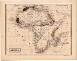Afrika térkép 1840 (2), német nyelvű, atlasz, eredeti, Pesth, 23 x 29 cm, régi, acélmetszet, Szahara