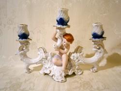 3 ágú barokk stílusú gyertyatartó puttó kisfiúval Arpo porcelán