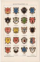 Céh címerek II., litográfia 1895, színes nyomat, német nyelvű, Brockhaus, céh, ipar, címer, régi