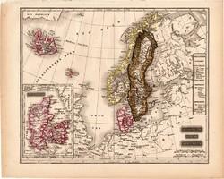 Svédország, Norvégia, Dánia térkép 1840 (2), német nyelvű, atlasz, eredeti, 23 x 29 cm, Skandinávia