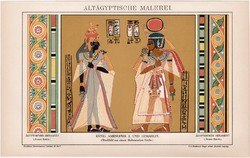 Óegyiptomi festmény, litográfia 1892, színes nyomat, német nyelvű, Brockhaus, Egyiptom, Amenophis