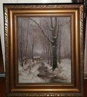 Rubovics Márk (1864-1947) Téli táj c.festménye Eredeti Garanciával
