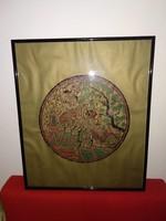 Régi dekoratív kelet-ázsiai stílusú keretezett fali kép, aranyozott hátterű színes festmény