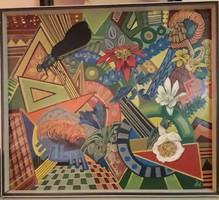 Szignózott olaj-karton festmény