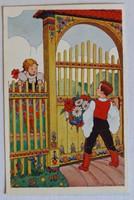 Népies képeslap 1938-ból: udvarlási jelenet; Monostory György (Bp.) kiadása