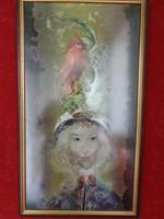 Szász Endre - A piros madaras hölgy - Kanadai reprodukció tükröződés mentes üveg mögött.