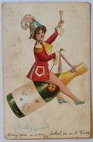 Újévi képeslap, 1905 előtt (pb: 1906): Pezsgősüvegen lovagló hölgy